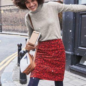 Boden Mimi Red & Black Floral Velvet Skirt